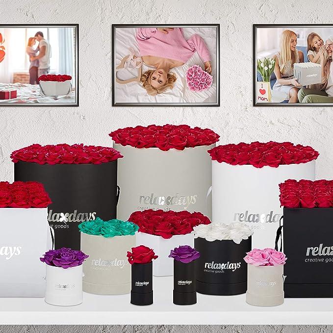 Relaxdays Rosa Artificial en Caja Blanca Adorno Floral 1 Unidad Cart/ón-Tela-PP Blanco Flower Box Vida /Útil 10 A/ños