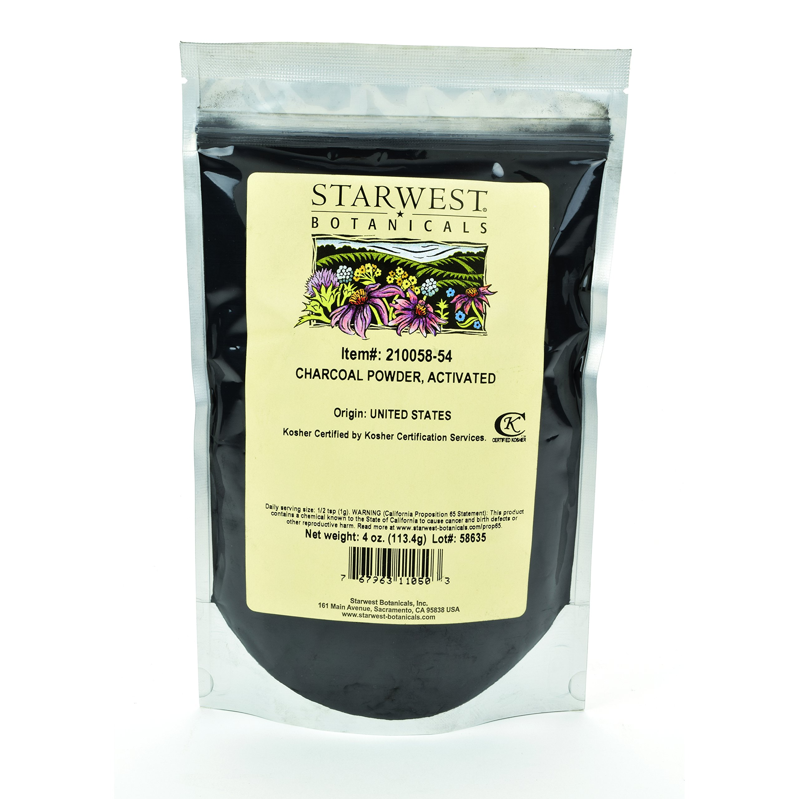 Starwest Botanicals FOOD GRADE US Hardwood Activated Charcoal Powder, 4 Ounces (Pack of 4)