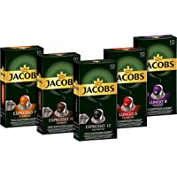 Jacobs 雅各布 咖啡胶囊-50杯 奈斯派索咖啡机兼容 铝质咖啡胶囊, 5种口味(5×10个胶囊)