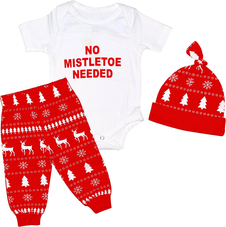 Unique Baby Boys Christmas Mistletoe Layette Onesie Set with Cap