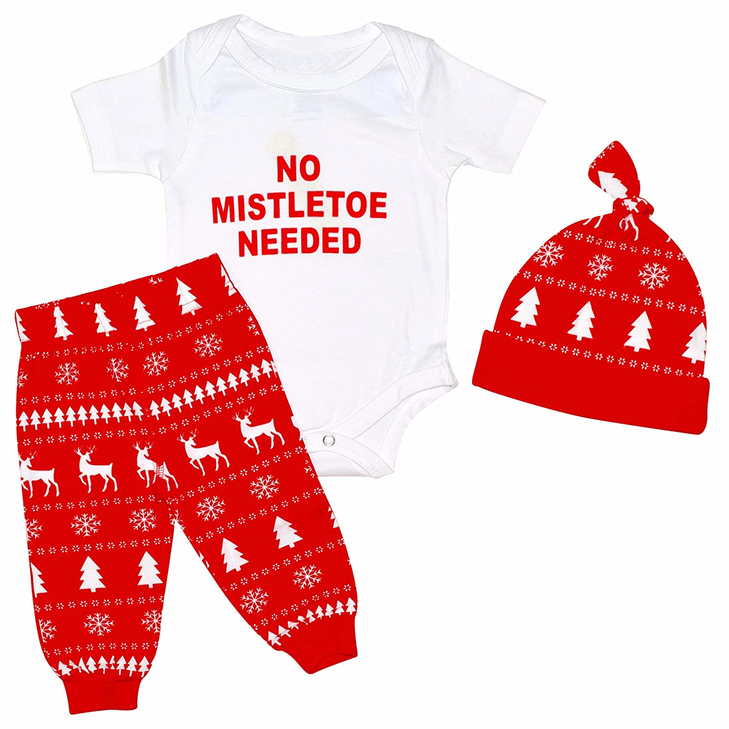 Unique Baby Boys Christmas Mistletoe Layette Set with Cap
