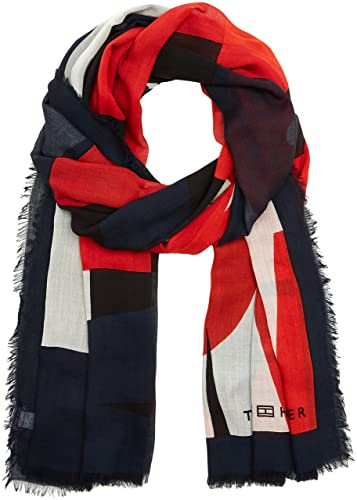 Tommy Hilfiger Tommy Colour Block Scarf, Bufanda para Mujer, Multicolor (Corporate Clrs), Talla únic...