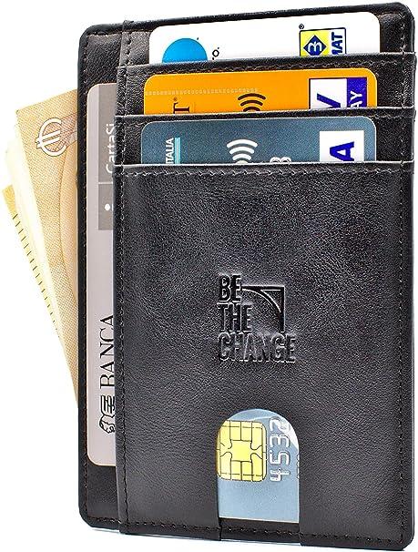 11dffd32c2 Portafoglio Uomo Piccolo Sottile - Mini Porta Carte Credito Uomo Pelle con  Protezione RFID e Tasca