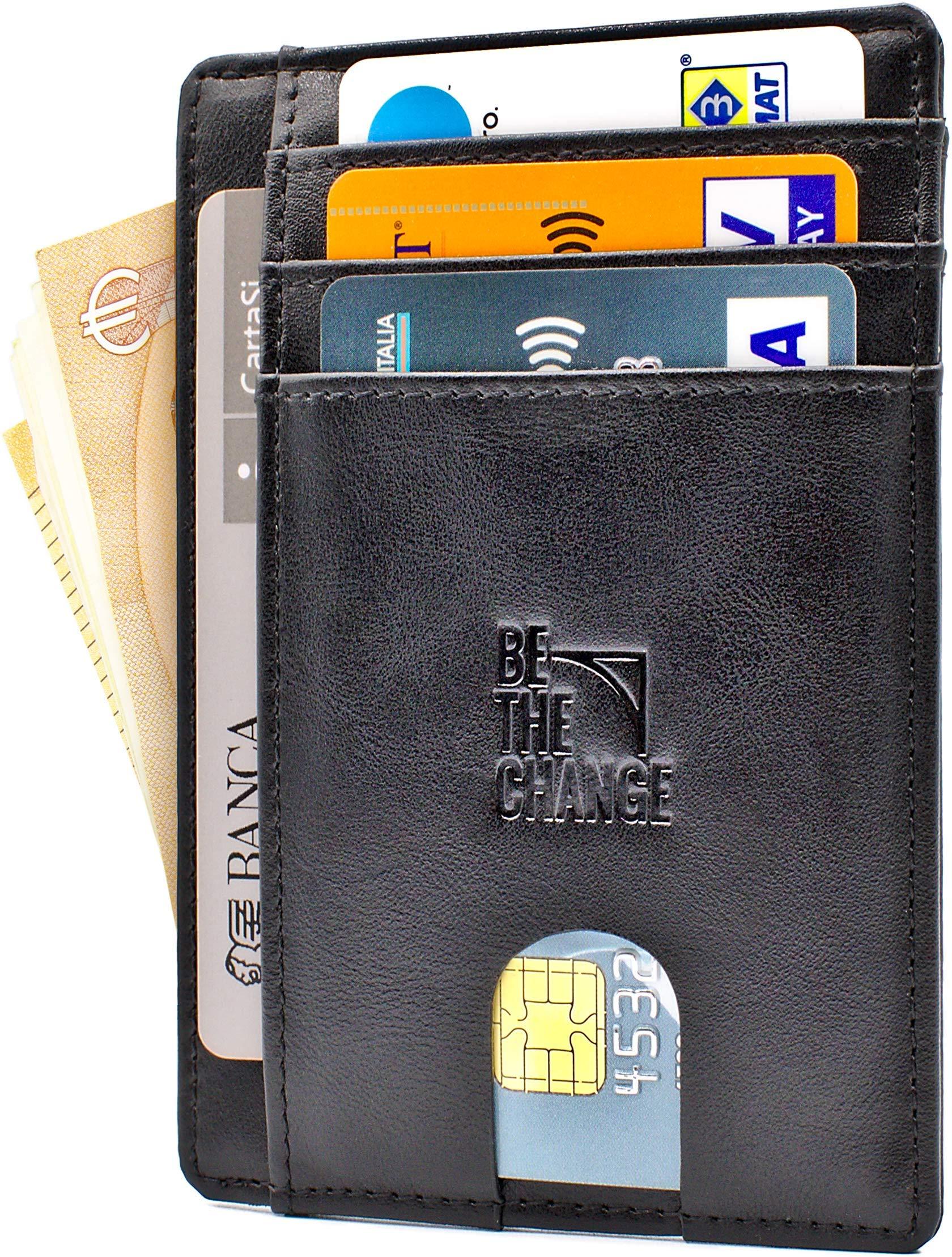 c314f1273b Portafoglio Uomo Piccolo Sottile - Mini Porta Carte Credito Uomo Pelle con  Protezione RFID e Tasca