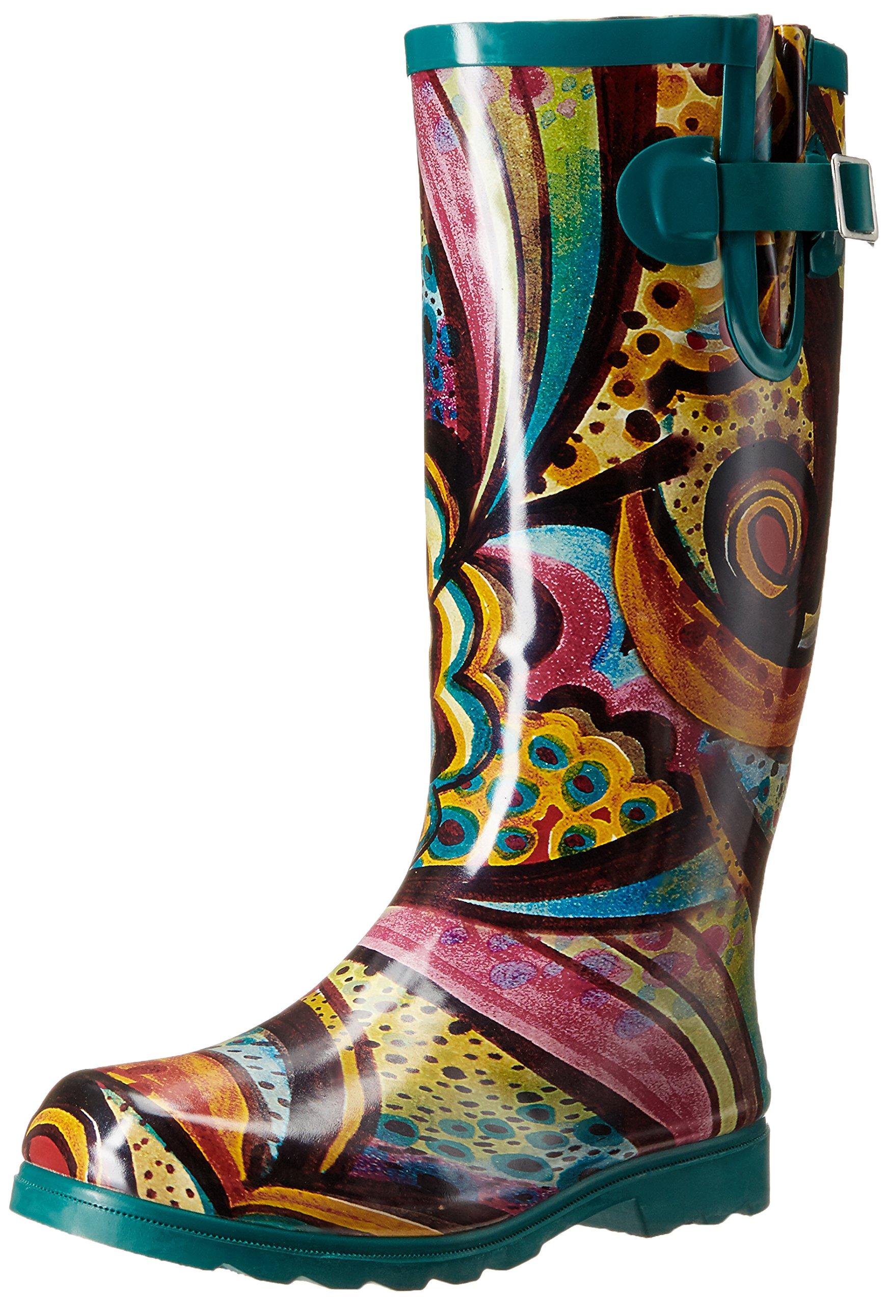 Nomad Women's Puddles Rain Boot, Turquoise Monet, 9 M US