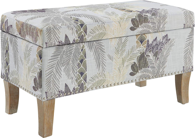 Linon Beige Tropics Upholstered Storage Stephanie Ottoman