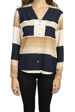 352fb0671 Joseph Ribkoff Midnight Blue & Cream Stripe Button Down Blouse ...