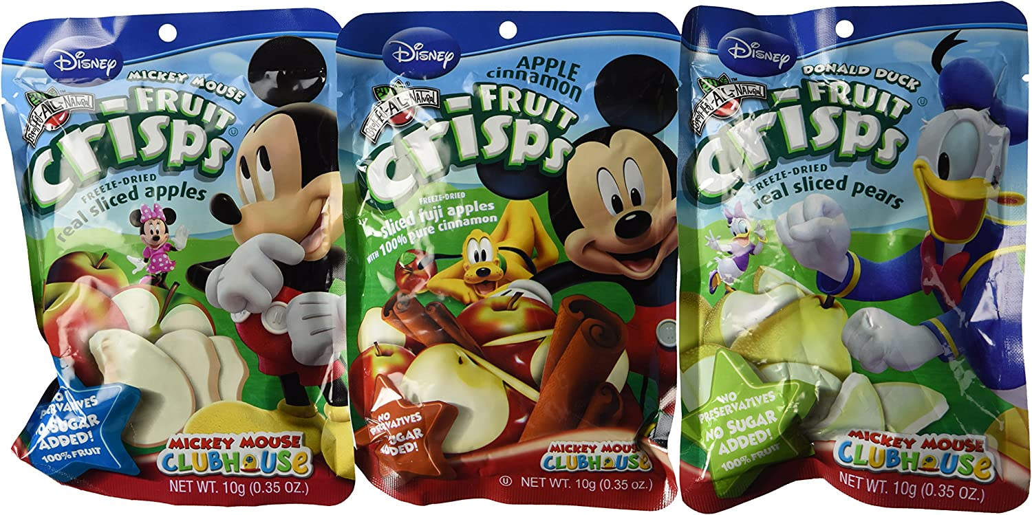 Brothers-ALL-Natural Freeze Dried Fruit Crisps Disney 3 Flavor Variety 6 Bag Gift Bundle, 2 each: Minnie Mouse Fuji Apple Cinnamon, Donald Duck Pear, Mickey Mouse Fuji Apple, .35 Ounces