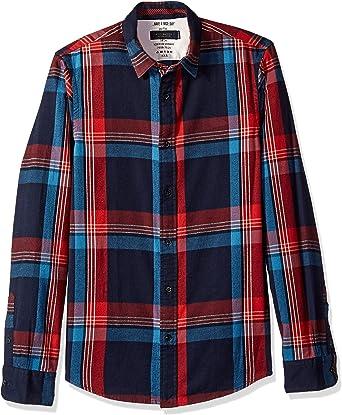 Scotch & Soda Hombre Camisa de Franela, Rojo, Medium: Amazon.es: Ropa y accesorios