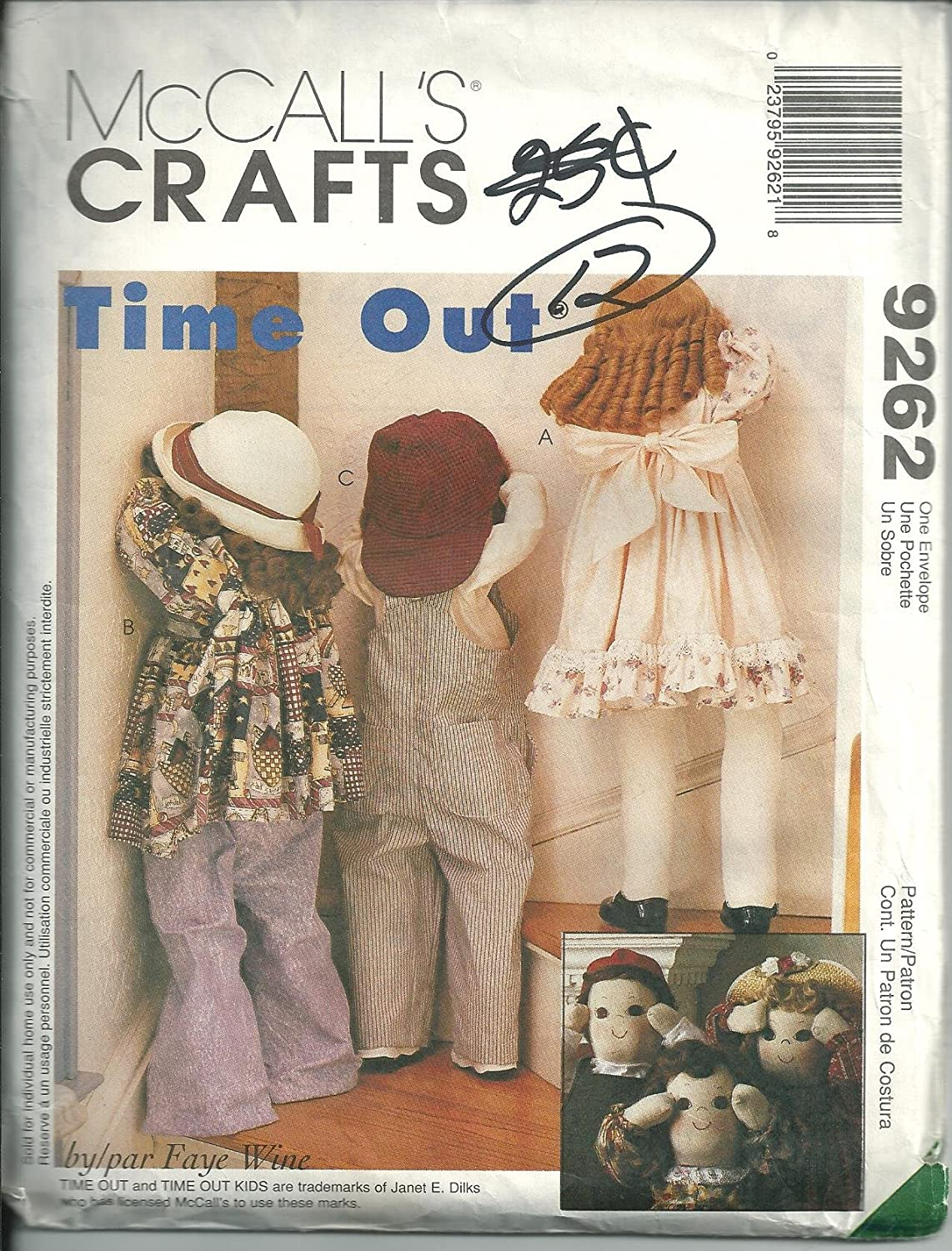 McCall's 9262 Crafts Sewing Pattern Time Out Dolls