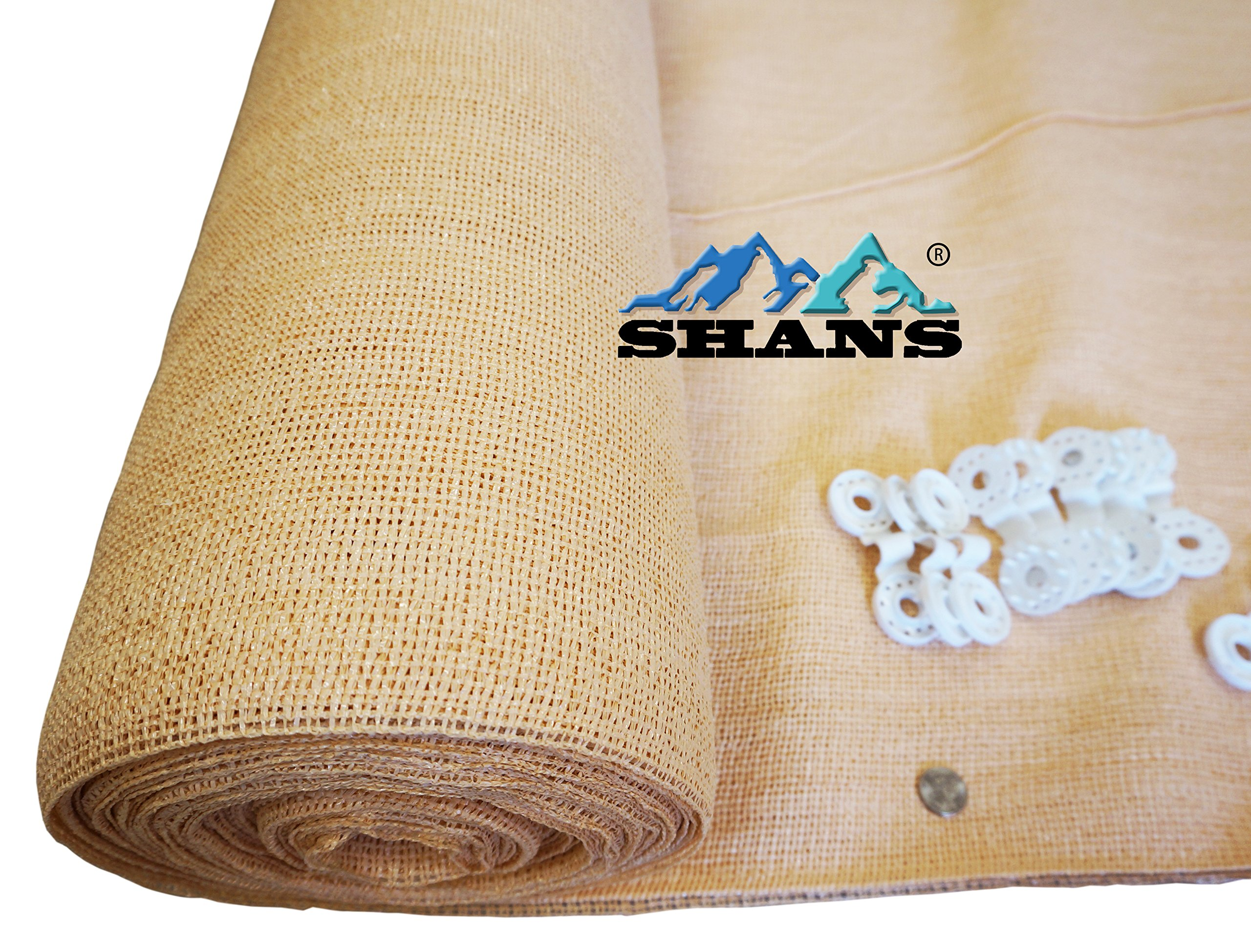 SHANS Wheat Shade Cloth Blocks 70% of UV with Free Clips (20ft x 50ft) by SHANS (Image #3)