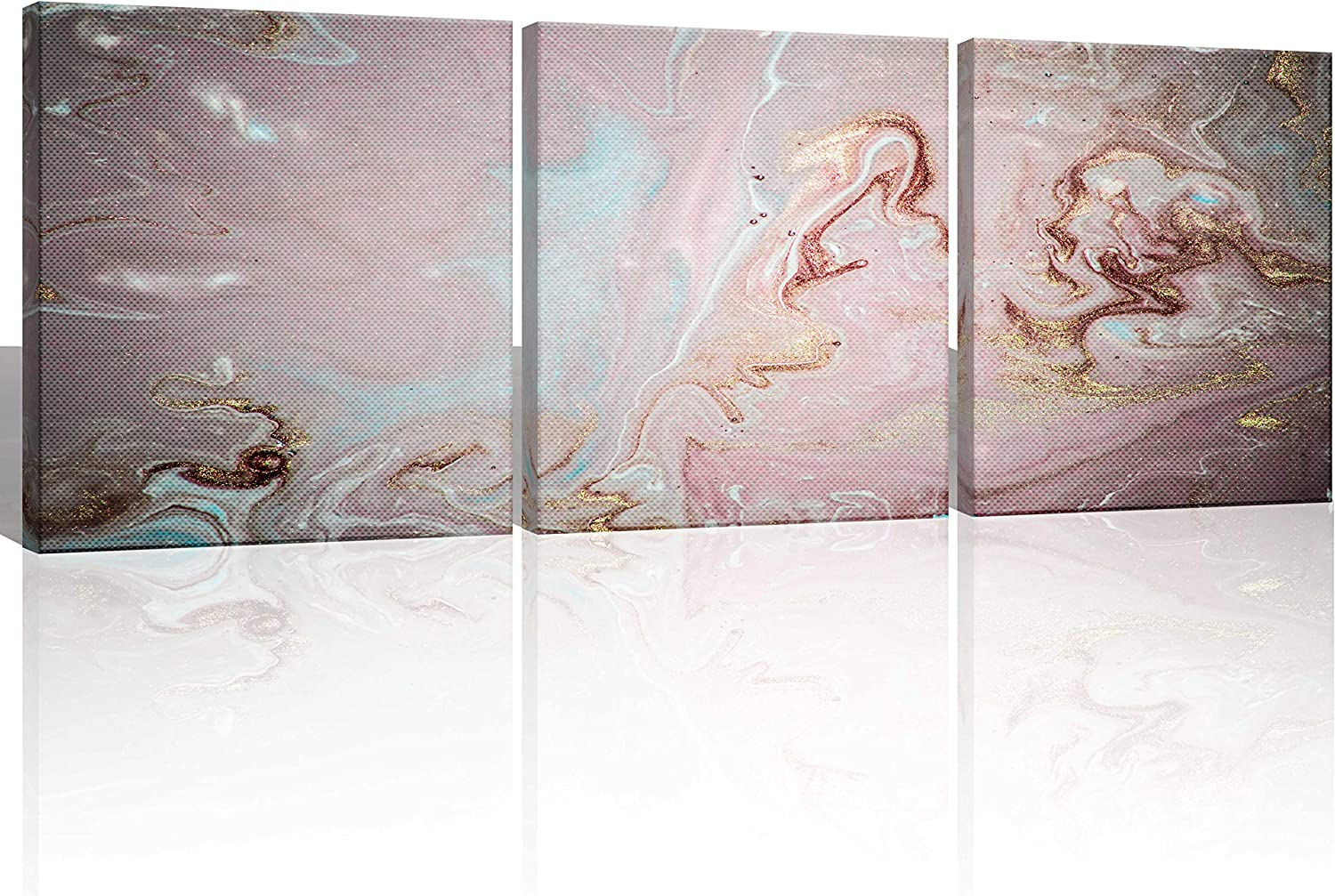 Oiney Gold Pink Abstract Canvs Wall Art 3 Panels Marble Modern Wall Art Decor for Home,Office,Hotel