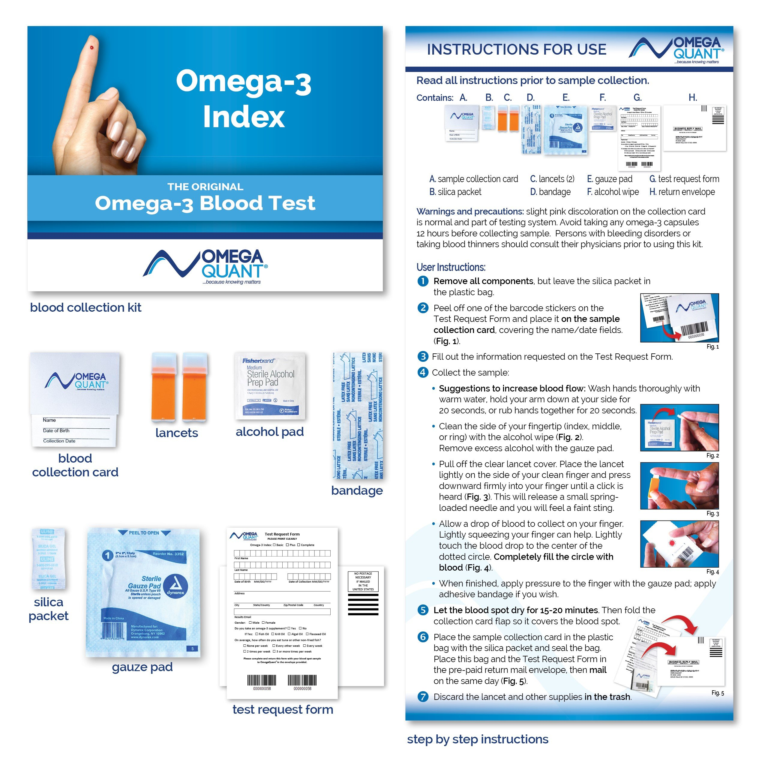 Omega-3 Index Basic - The Original Omega-3 Blood Test with one drop of blood.