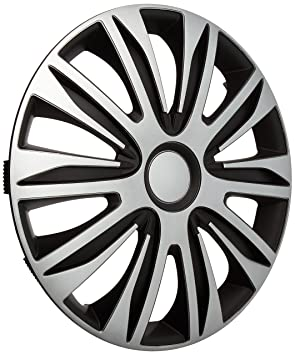 Autostyle PP 5204 Nardo Set de tapacubos, 14 pulgadas, color plata y negro