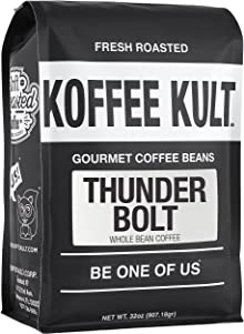 Koffee Kult Thunder Bolt Whole Bean Coffee, with French Roast Colombia Coffee Beans - 32 ounce bag