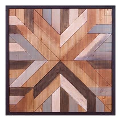 Patton Wall Decor 30 X 30 Geometric Quilt Wood Wall Art Brown