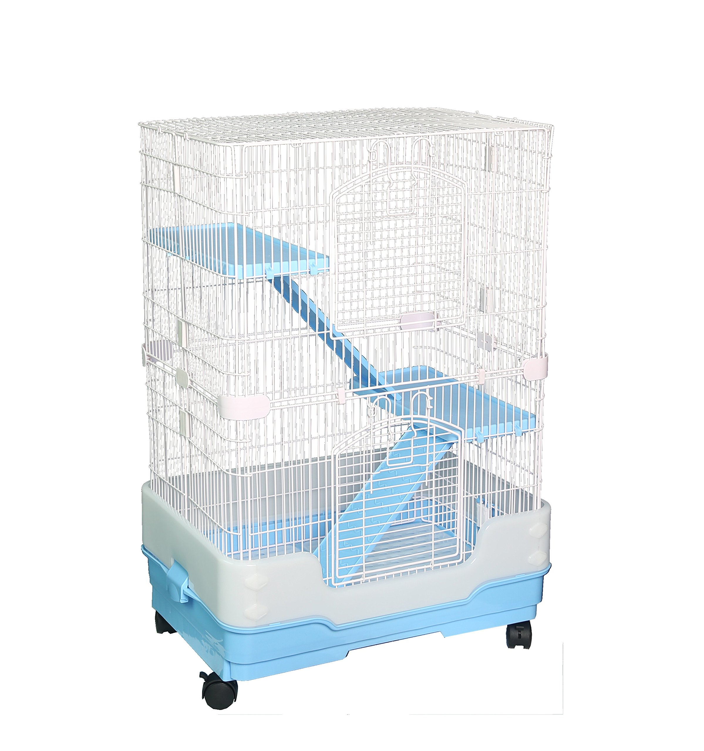 Homey Pet 3 Tiers Chinchilla Hamster Rat Ferret Cage with Sleeping Platform, Pull Out Tray, Urine Guard and Lockable Casters, Blue, L26 x W17 x H38