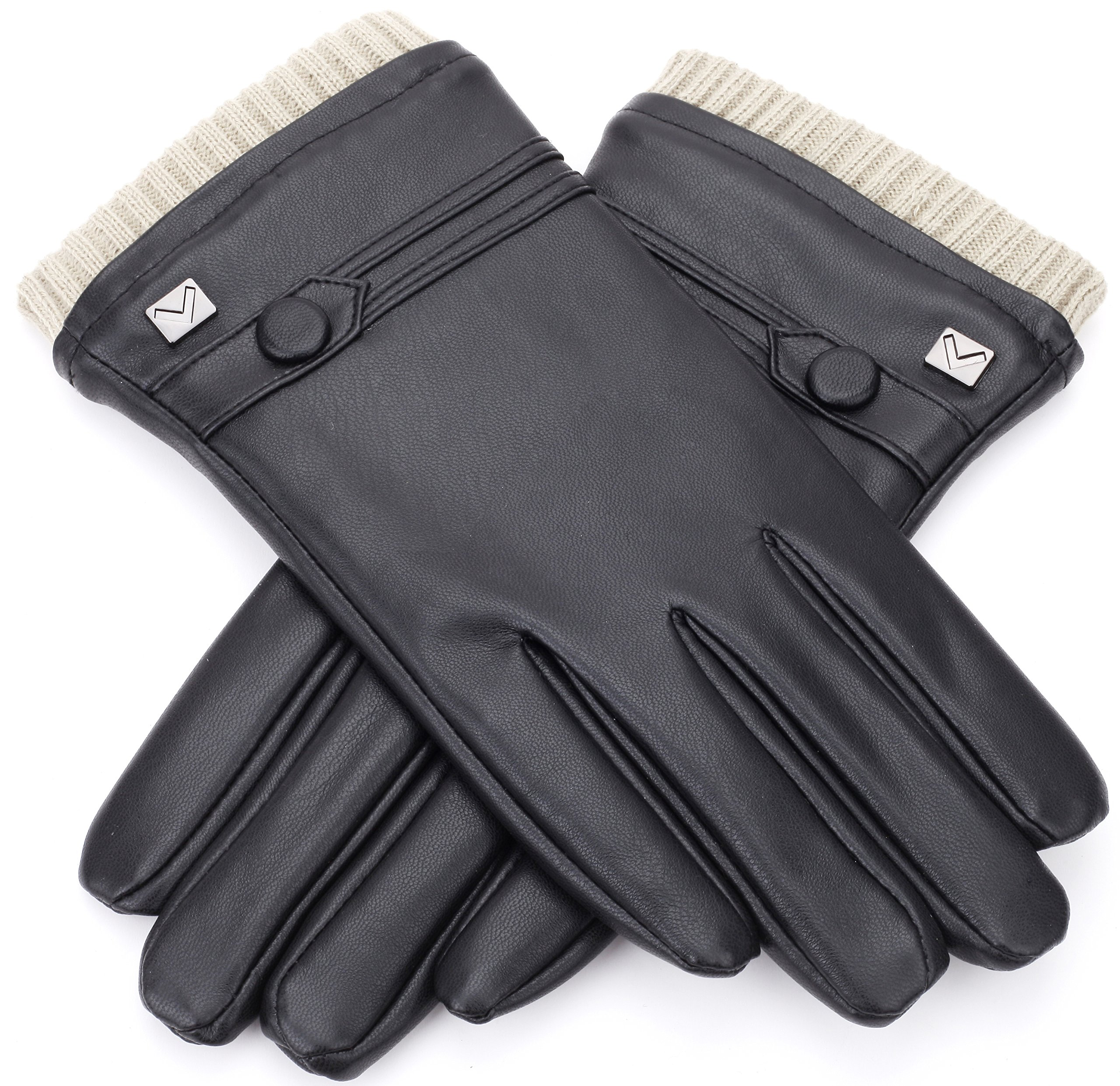 Gallery Seven Mens Faux Leather Warm Winter Gloves - Touch Screen Texting Glove - Gift Wrapped - Black Fine Button Style - Small by Gallery Seven (Image #3)