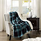 Comfort Spaces Sherpa/Plush Throw Blanket for Couch - 50x60 inches Lightweight Cozy Sofa Bed/Couch Throw for Beds Office Lap - Plaid - Aqua, Grey, Black