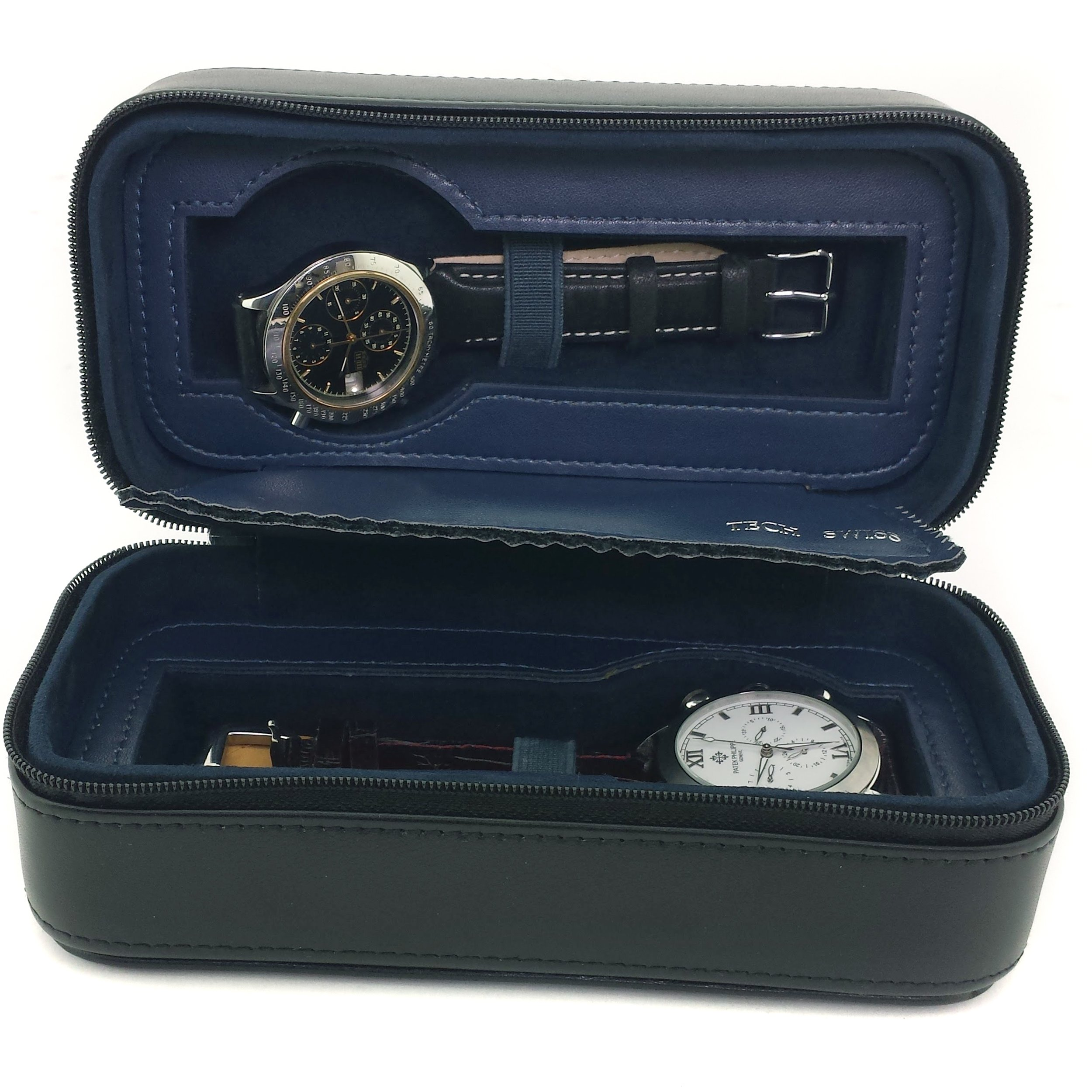 Travel Watch Case Compact for 2 Watches Storage Protection Zipper (Black / Navy)