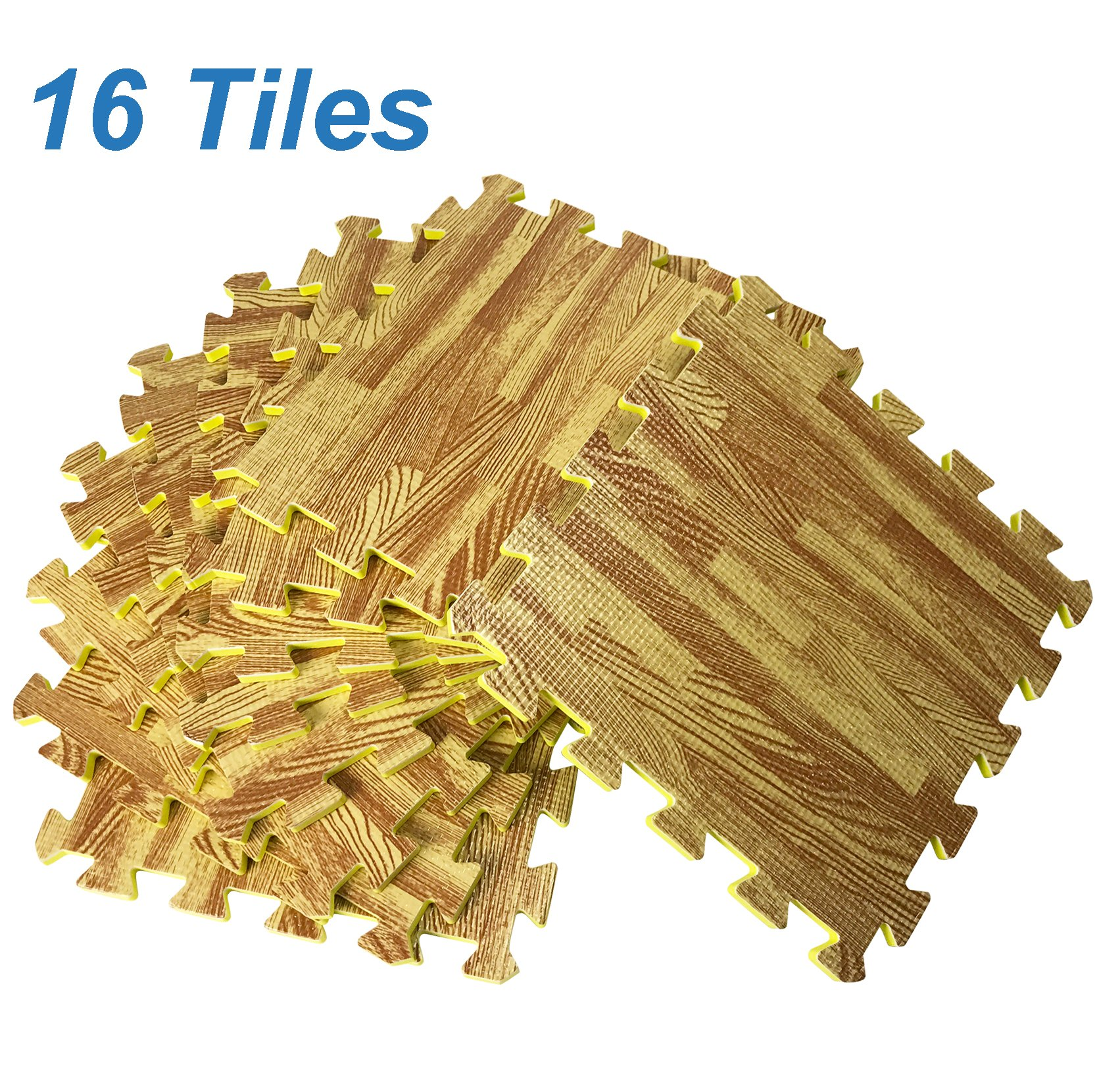[Set of 16] Printed Wood Grain Floor Mat 3/8'' Thick Interlocking EVA Foam Puzzle Flooring Tiles - Each Tile Measures 1 Square Foot – for Home Office Playroom Basement