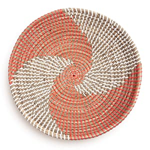 Fauxliage Woven Basket Bowl Wall Hanging | Handmade Decorative Bowl with Hook | Chic Boho Décor, Ideal Housewarming Gift for Her | Orange Seagrass 13 Inches