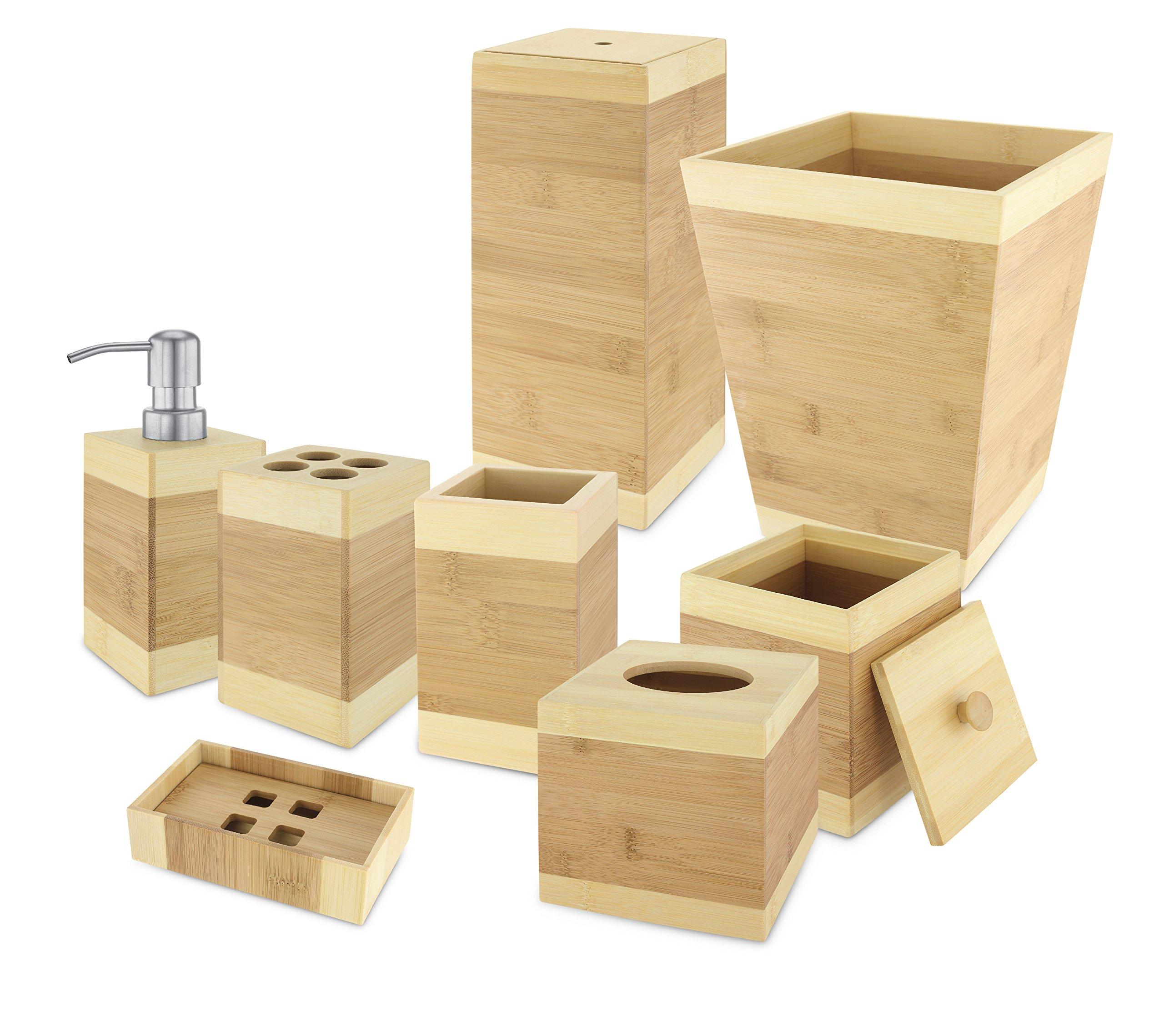 Kovot Bamboo Bathroom Accessories 8 Piece Set - Adds Beautiful Natural Elegan.. 16