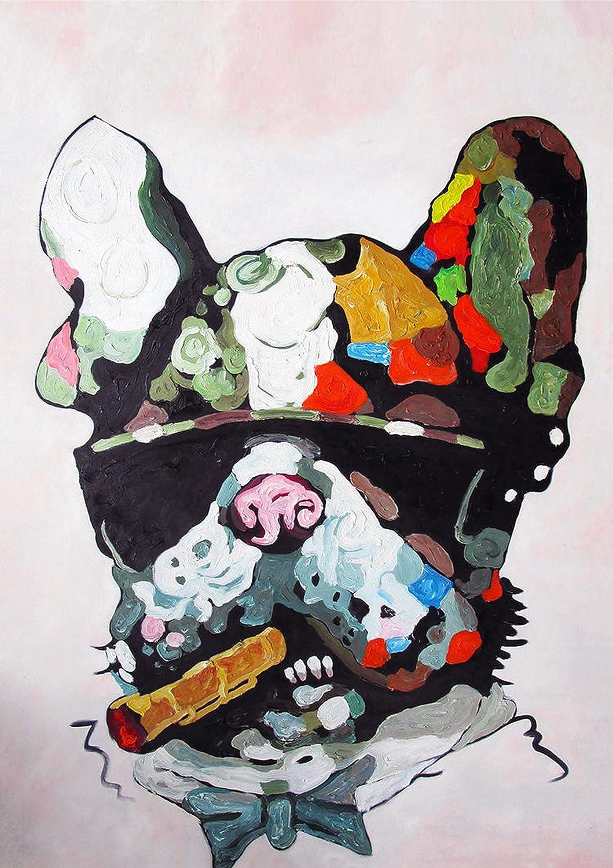 Bois dense A0 47x33 inches Bouledogue fran/çais abstrait Impression sur toile murale Motif Tailles vari/ées