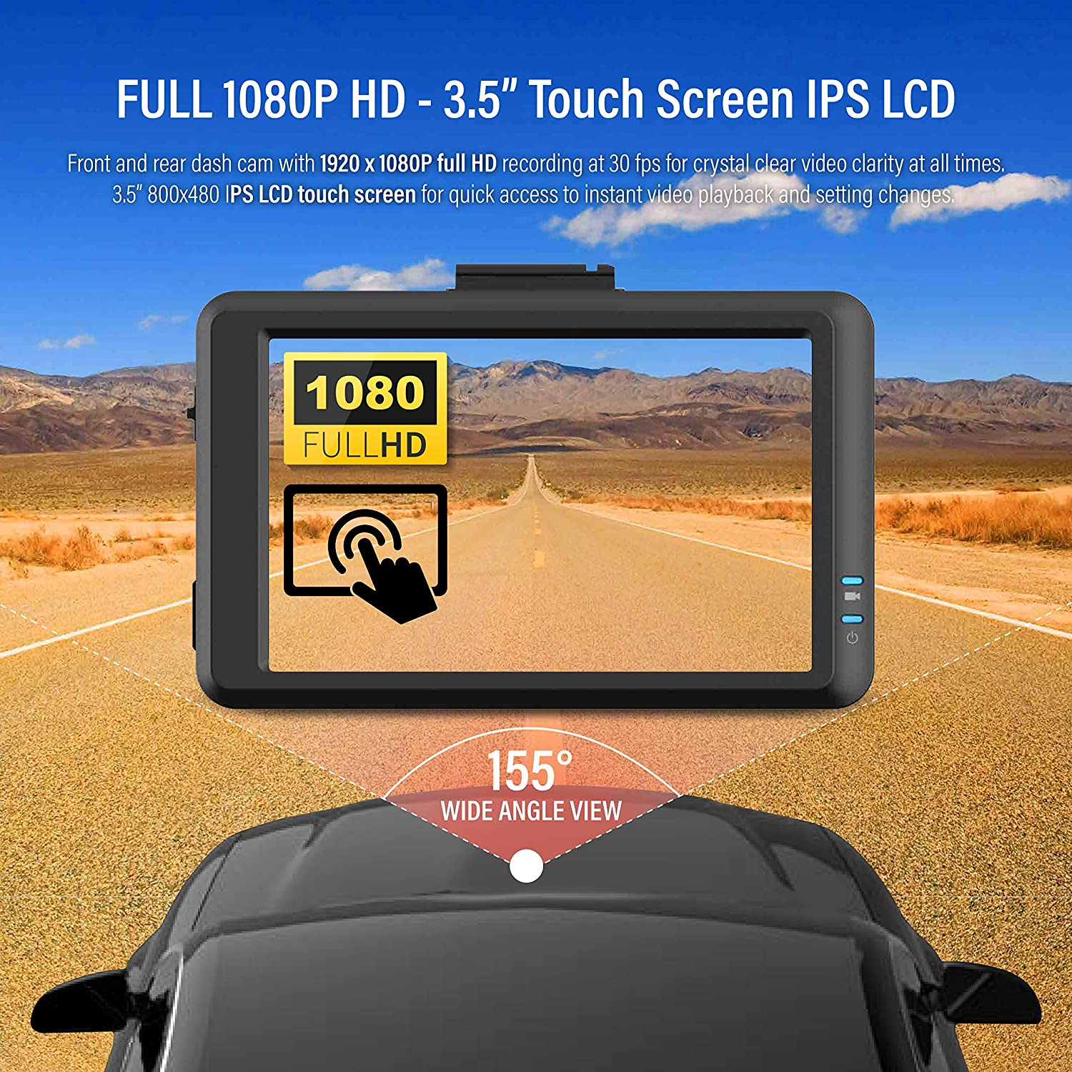 """Hardwiring Cable Samsung 64GB MicroSD Included 3.5/"""" Touch Screen IPS Night Vision ADAS Plus Time Lapse G-Sensor Front and Rear Full HD 1080P FineVu X500 Dash Cam"""