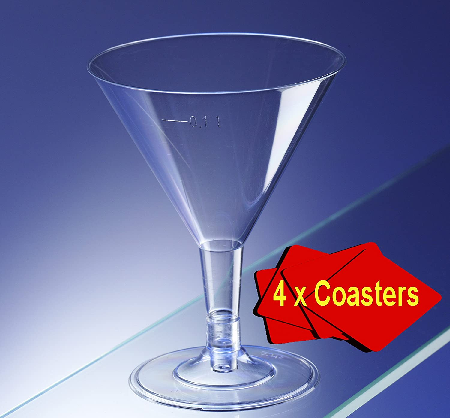 60 x Clear Plastic Disposable Martini/Cocktail Glasses 160ml.Ideal for picnics, camping and glamping, festivals, outdoor pool, bbq, garden and special occasions. Offer Pack of 60 glasses with 4 x AIOS drinks mats in box.