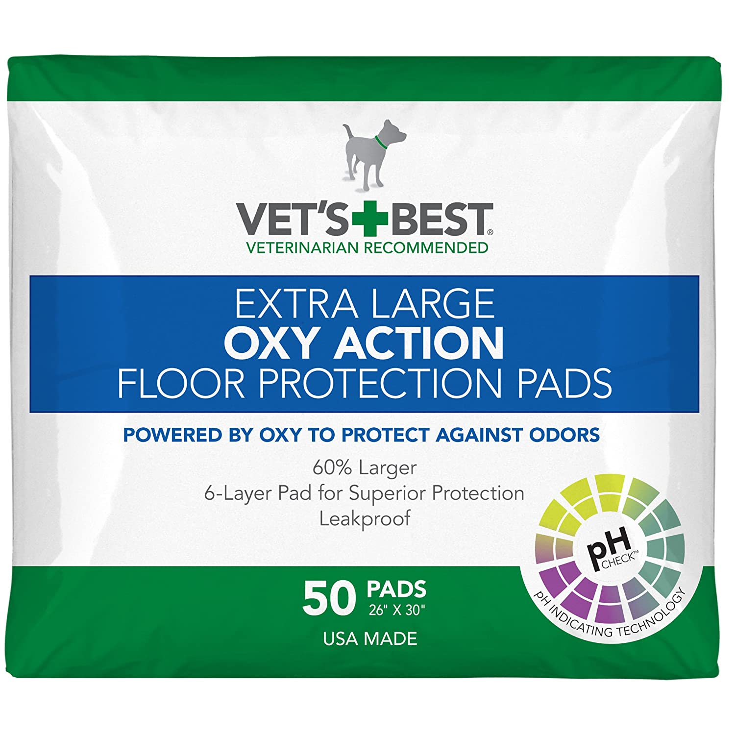 Vet's Best 50 Count Oxy Action Floor Predection Dog Pads, X-Large
