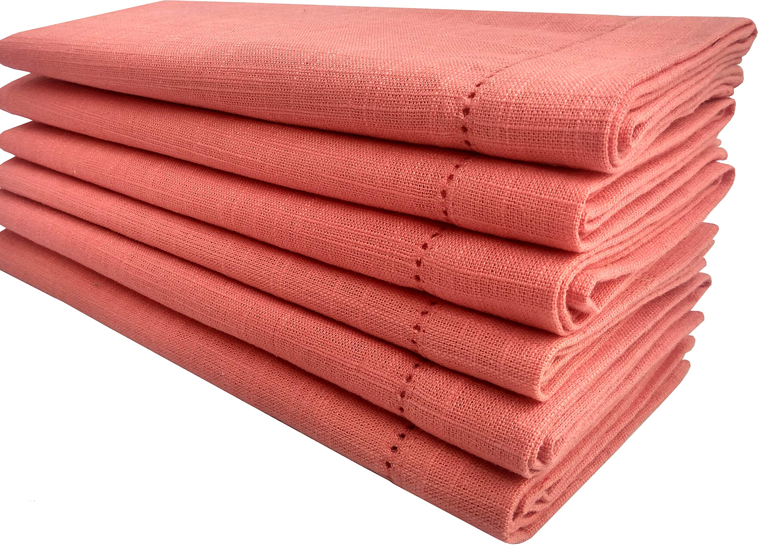 Linen Clubs Cloth Dinner Napkins in Cotton slub Fabric in Coral Color,18x18 Inch with Mitered Corner Finish & Hemstitched Detailing Offered (Set of 6 Pieces)