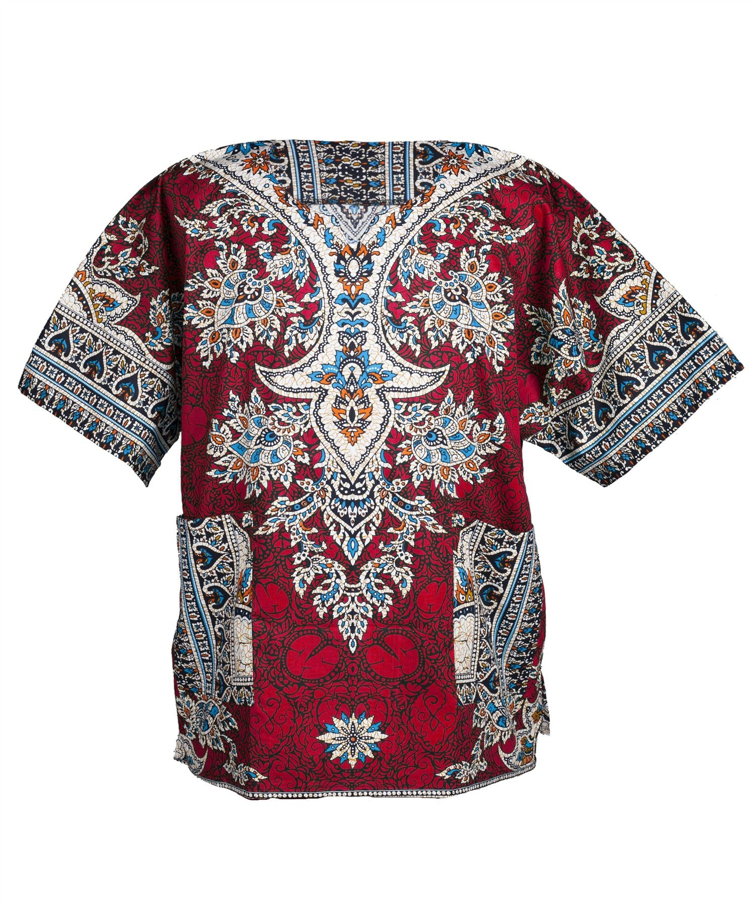 Lofbaz Traditional African Print Unisex Dashiki Ethnic Size XS Red