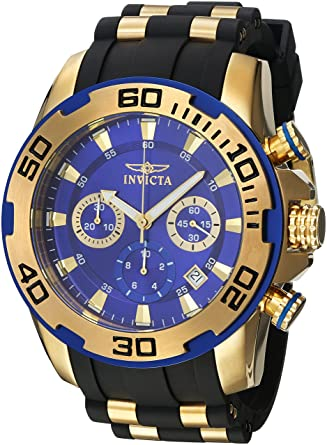 Amazon.com: Invicta Mens Pro Diver Stainless Steel Quartz Watch with Silicone Strap, Black, 26 (Model: 22313): Watches