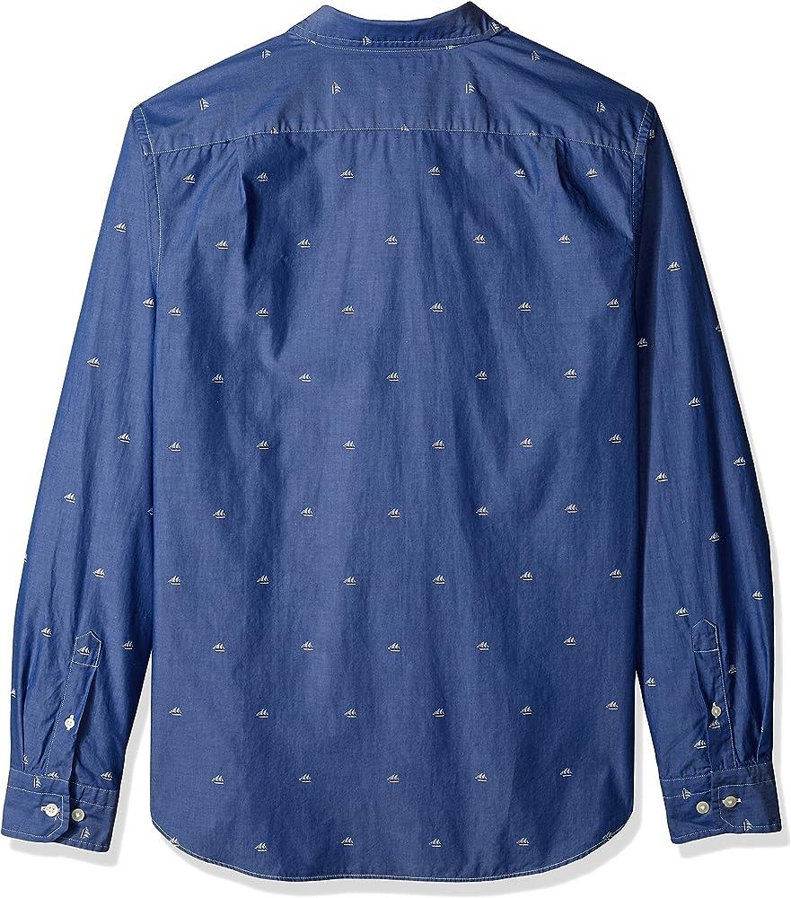 Nautica Hombre Manga Larga Camisa de botones - Azul - Large ...