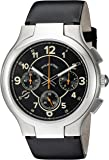 Philip Stein Mens Black Chronograph watch with Black Italian Leather Strap