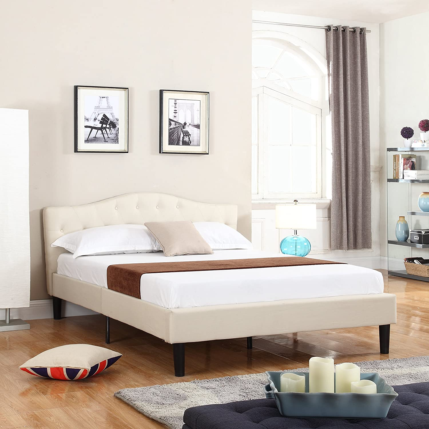 Divano Roma Furniture Classic Deluxe Linen Low Profile Platform Bed Frame with Curved Headboard Design and Button Details - Fits Queen Mattresses - Ivory