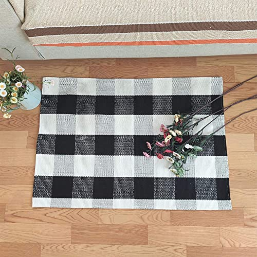 Black and White Area Rugs,35.4 x59.1 , Cotton Buffalo Plaid Rugs, Buffalo Check Rug, Checkered Plaid Rug, Check Plaid Area Room Bedroom Black and White Porch Rugs Rug for Kitchen Bathroom Laundry