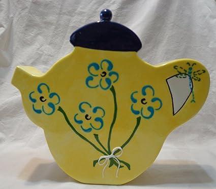 Amazon Teapot Decorative Vase Yellow Home Kitchen