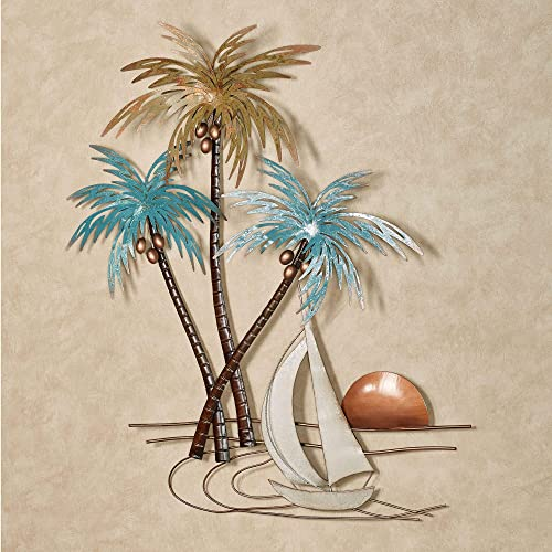 Touch of Class Sunset Paradise Tropical Palm Trees and Sailboat Hand Finished Metal Wall Art