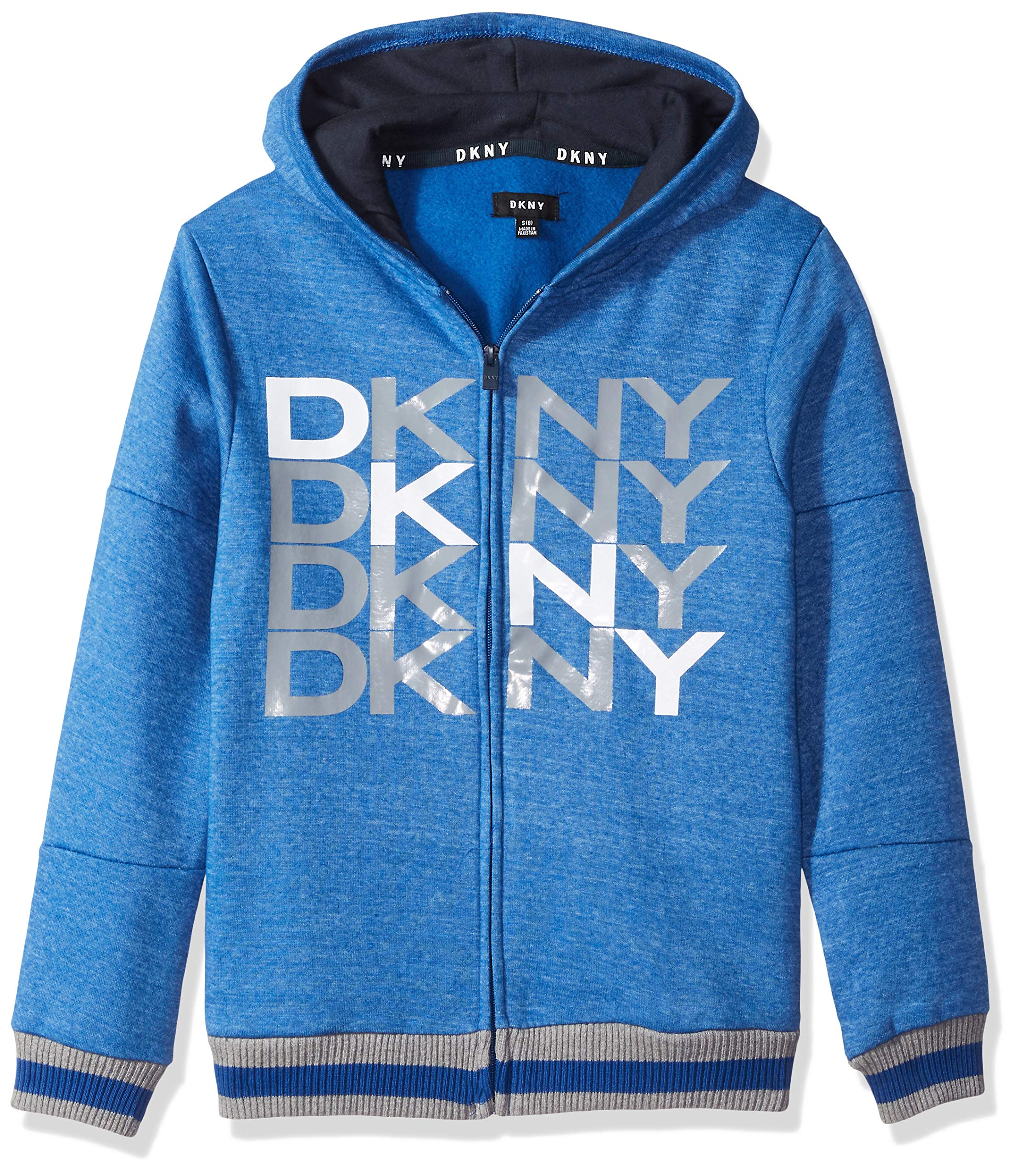 DKNY Big Boys' Zip Front Snow Marled Fleece Hoody, Surf The Web, 18/20