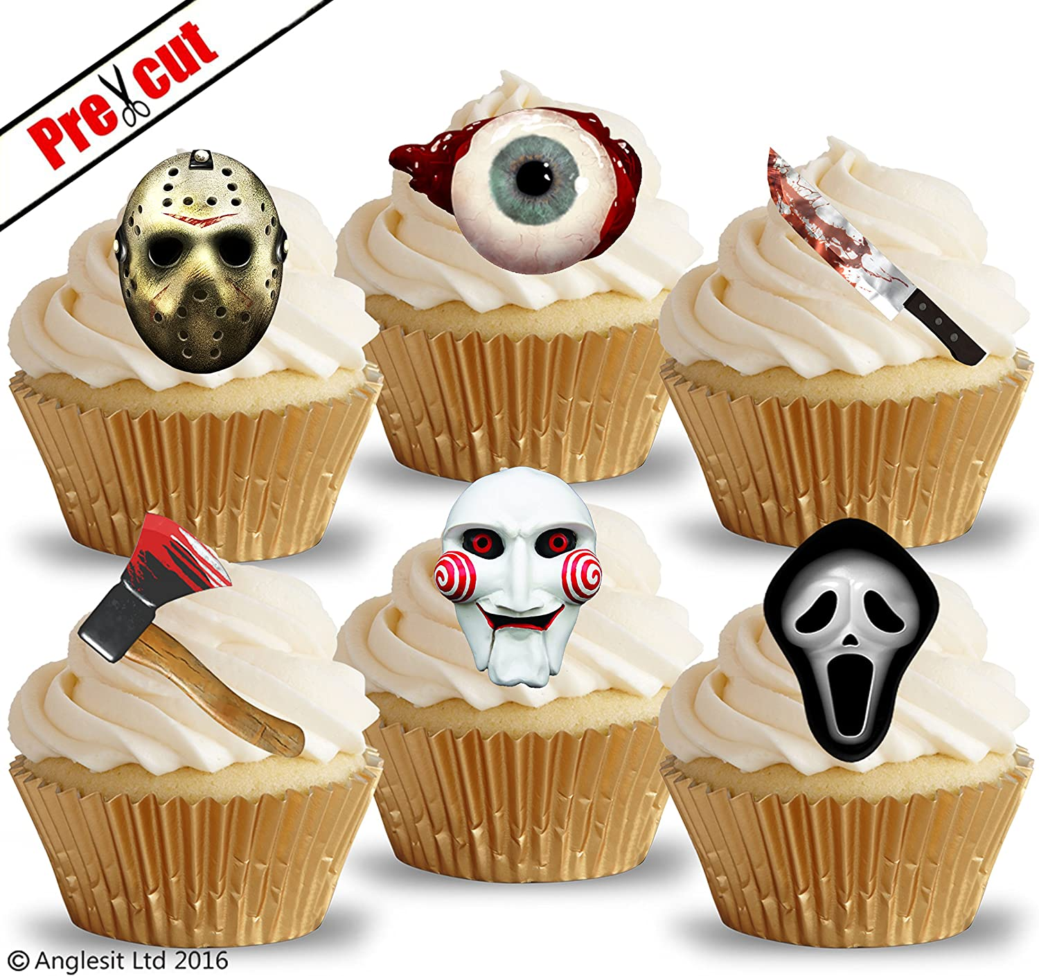 PRE CUT SCARY HORROR MASKS & OBJECTS EDIBLE RICE WAFER PAPER CUPCAKE CAKE TOPPERS HALLOWEEN GOTHIC BIRTHDAY PARTY DECORATIONS