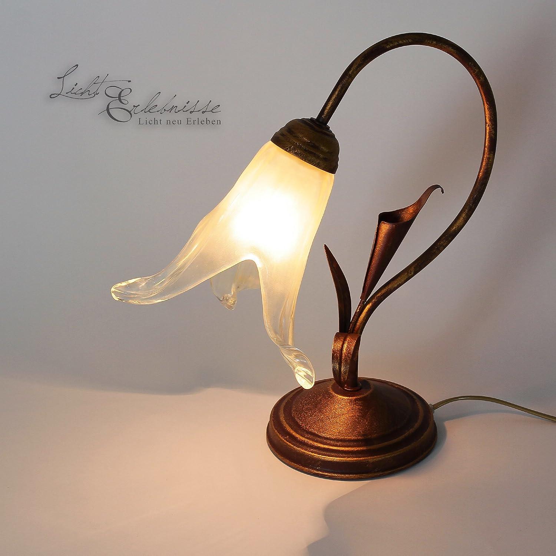 Landhaus Landhaus Landhaus Tischlampe Tischleuchte rustikal, in braun-gold, Florentiner-Glas Nachttischlampe c1958c