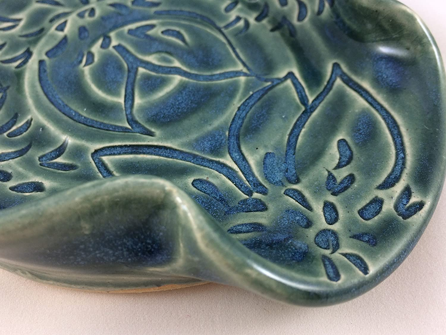 Spoon Rest Ceramic Spoon Rest with Dahlia Carving in Teal