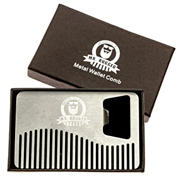 Amazon mr rugged compact stainless steel heavy duty beard comb mr rugged compact stainless steel heavy duty beard comb credit card sized metal comb reheart Choice Image