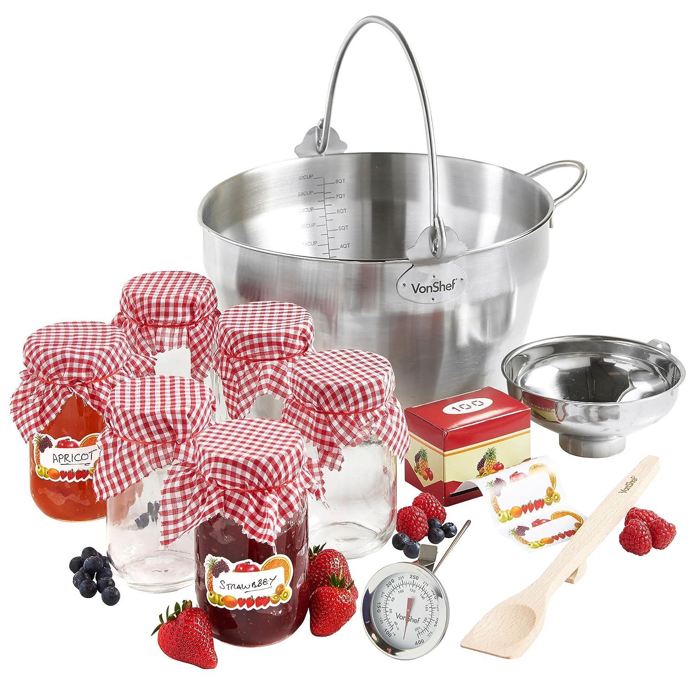 VonShef 9L Maslin Pan Induction Hob Suitable Jam Preserving Starter Set Bundle