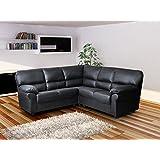 Candy - Corner Sofa - 4 Seater Symmetrical Shape - PU Leather - Black by SOFASANDMORE