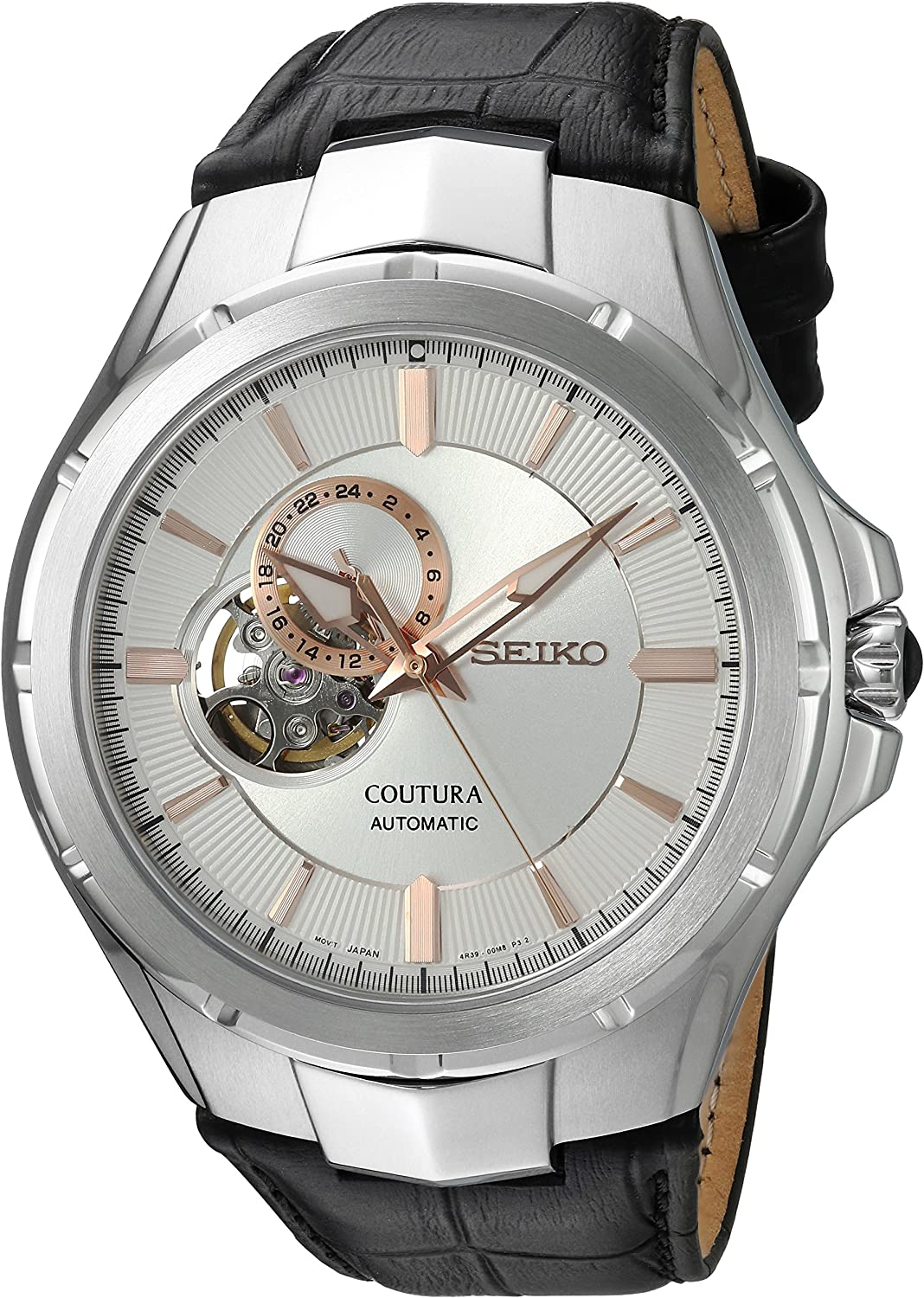 Seiko Men s Japanese Automatic Stainless Steel and Leather Casual Watch, Color Black Model SSA313