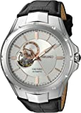 Seiko Men's Japanese Automatic Stainless Steel and Leather Casual Watch, Color:Black (Model: SSA313)