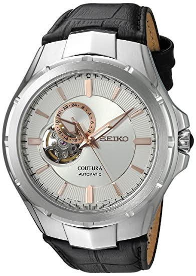 Amazon.com: Seiko Mens Japanese Automatic Stainless Steel and Leather Casual Watch, Color:Black (Model: SSA313): Watches